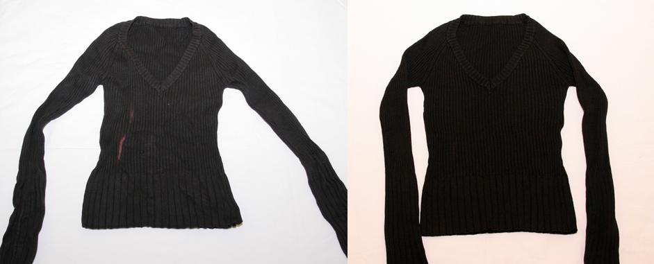 Jersey desteñido y con mancha de lejía >>> Jersey negro impoluto
