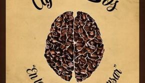 café e libros detrás do marco