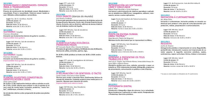 Obradoiros Extensión Universitaria Vigo 2013-2014