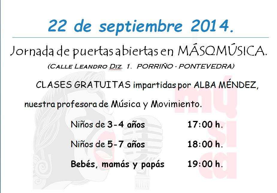 Jornada de puertas abiertas con clases gratuitas @ Escuela MásQMúsica, Porriño   O Porriño   Galicia   España